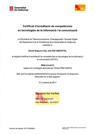 Certificat d'acreditació de competències en TIC