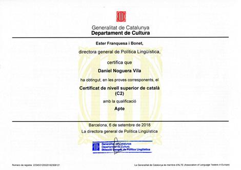 Certificat de Llengua Catalana - Nivell Superior C2